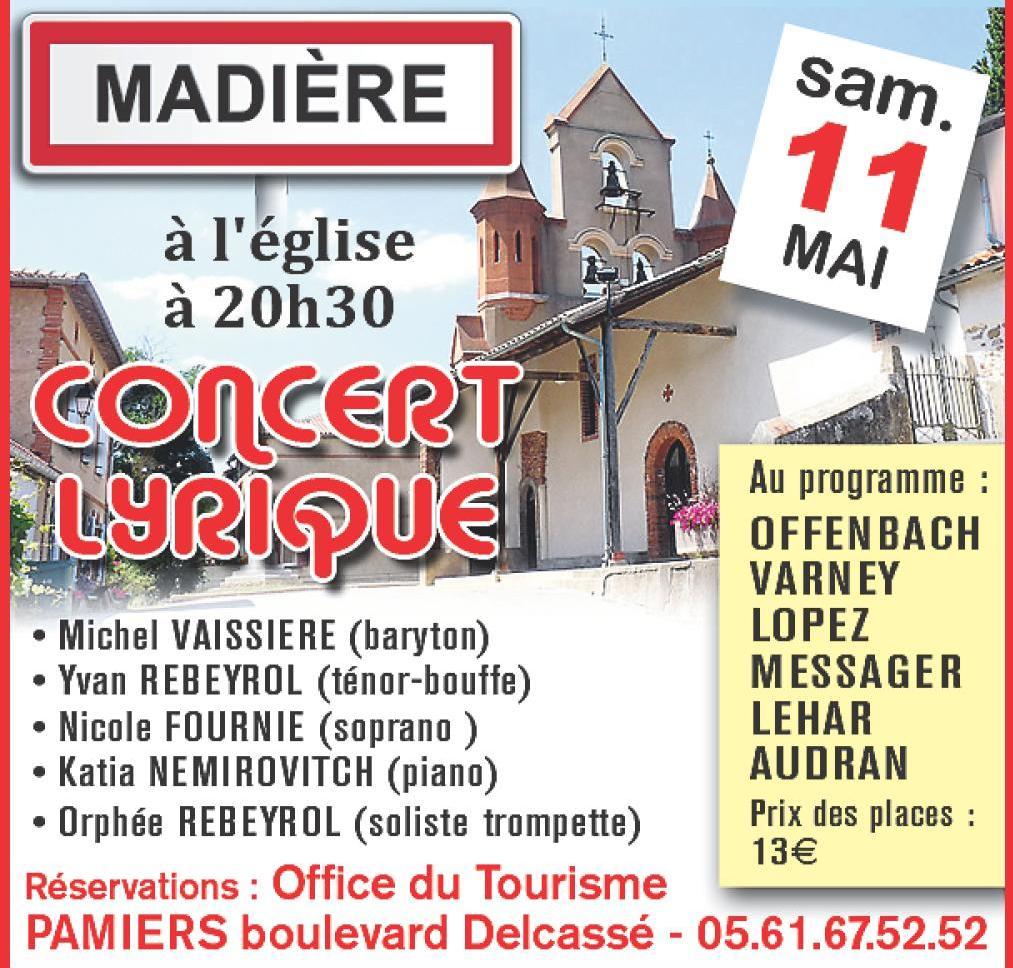 Concert lyrique, concert, Madière, Ariège, Yvan Rebeyrol,Orphée Rebeyrol, Katia Némirovitch, opéra, opéra-bouffe, opérette